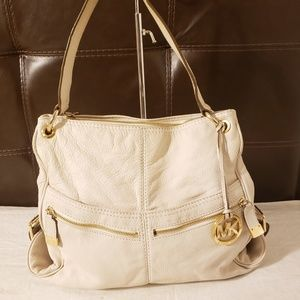 Michael kor white leather bag